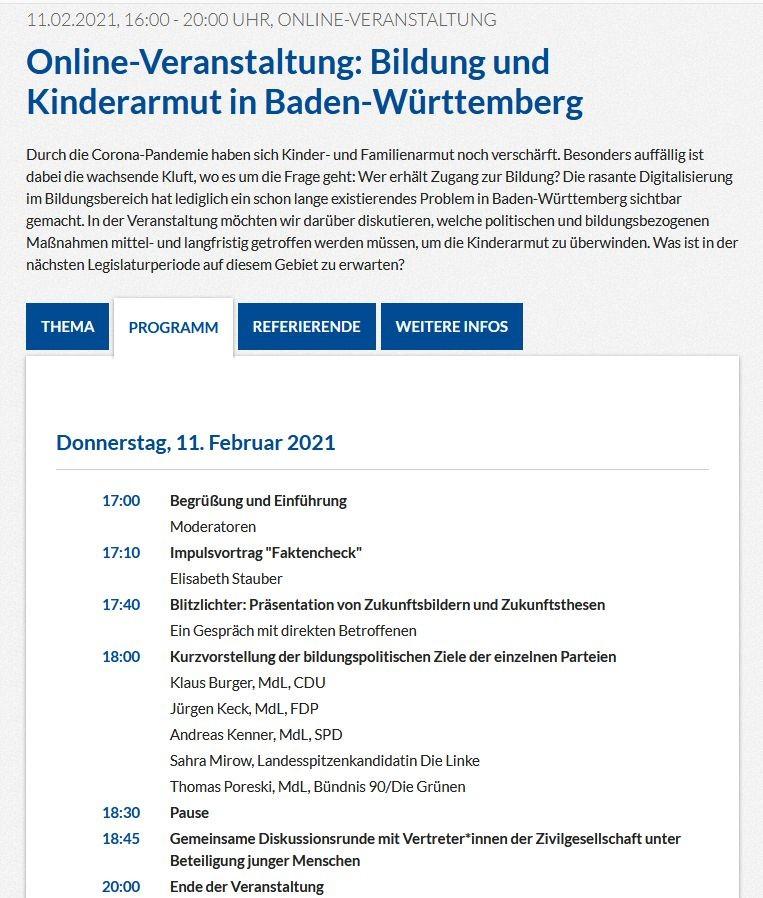 Gemeinschaftskunde-Kurse bei Tagung über Bildung und Kinderarmut in Baden-Württemberg